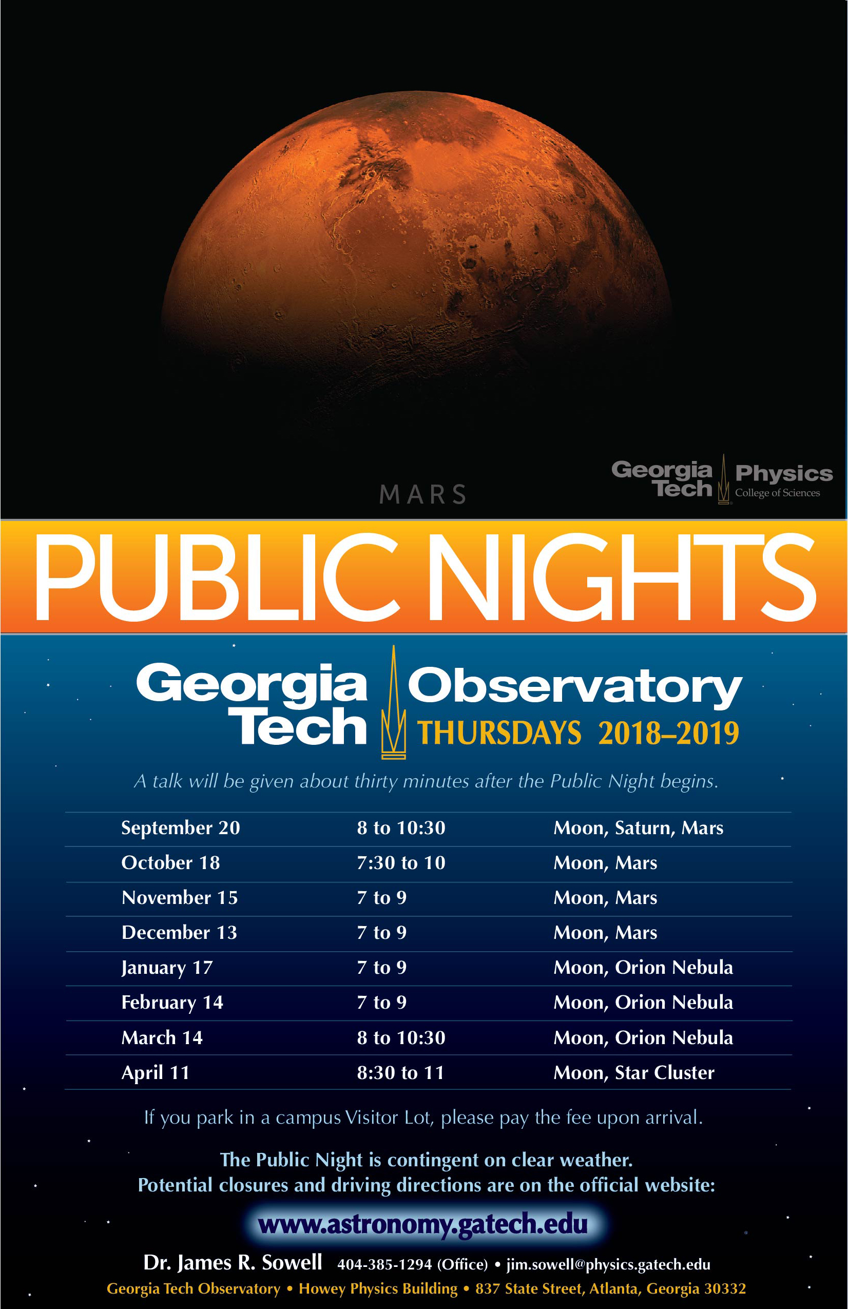 Ga Tech December 2019 Calendar Public Nights at the Georgia Tech Observatory | College of