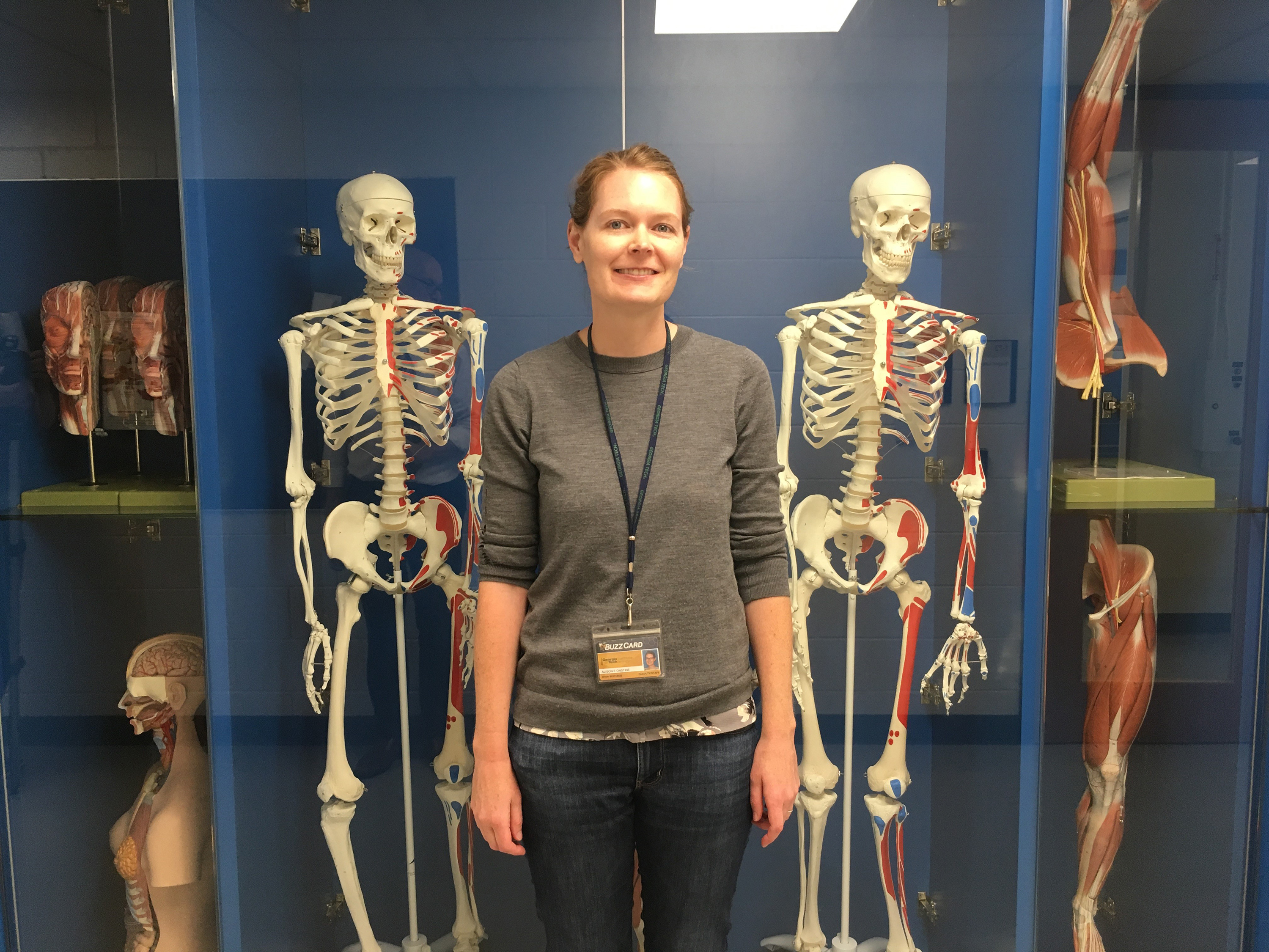 Alison Onstine by the anatomy display case in Boggs (Photo by Maureen Rouhi)