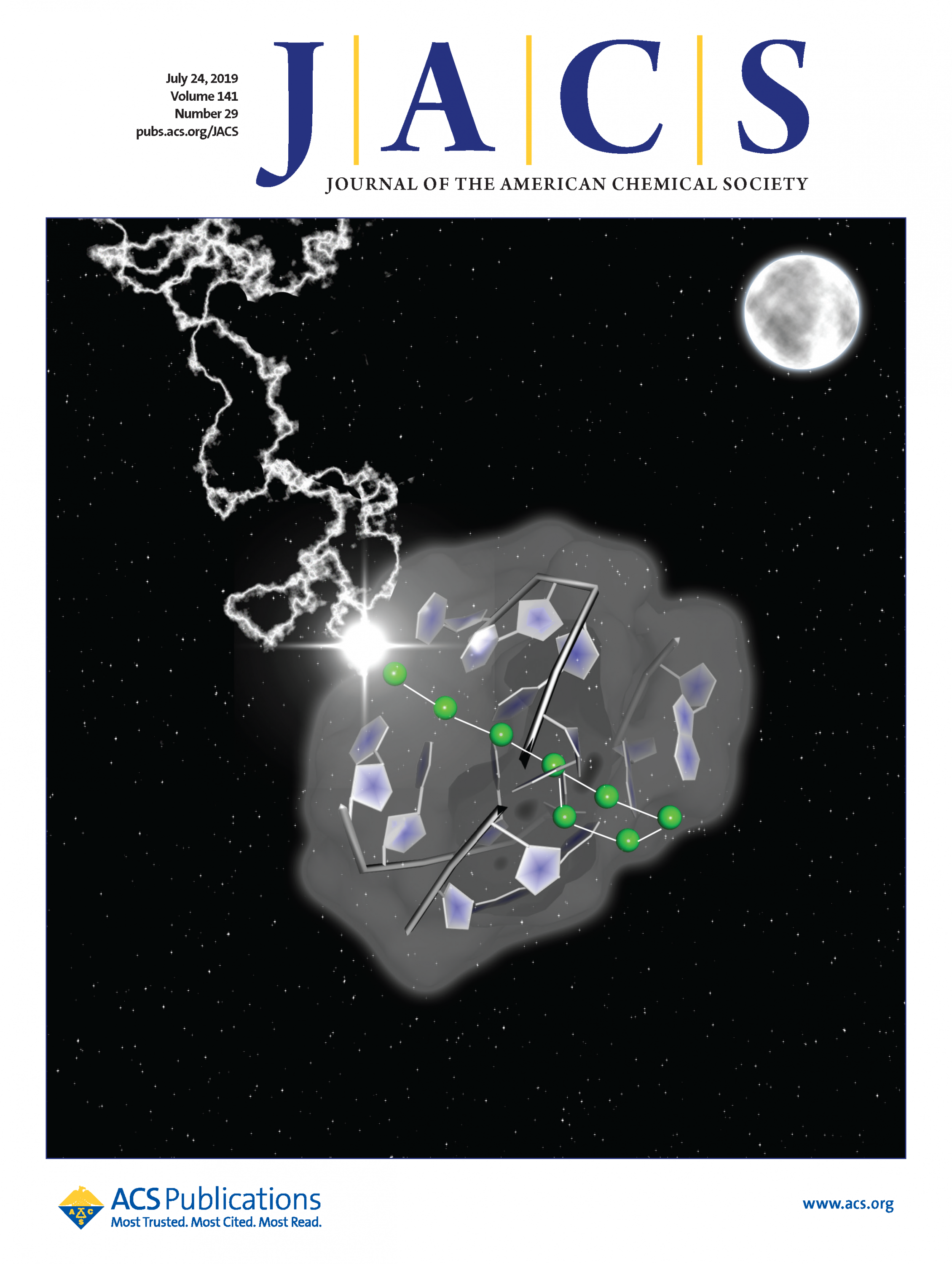 July 24, 2019, JACS cover features Ag8 cluster in Big Dipper array (Credit American Chemical Society)