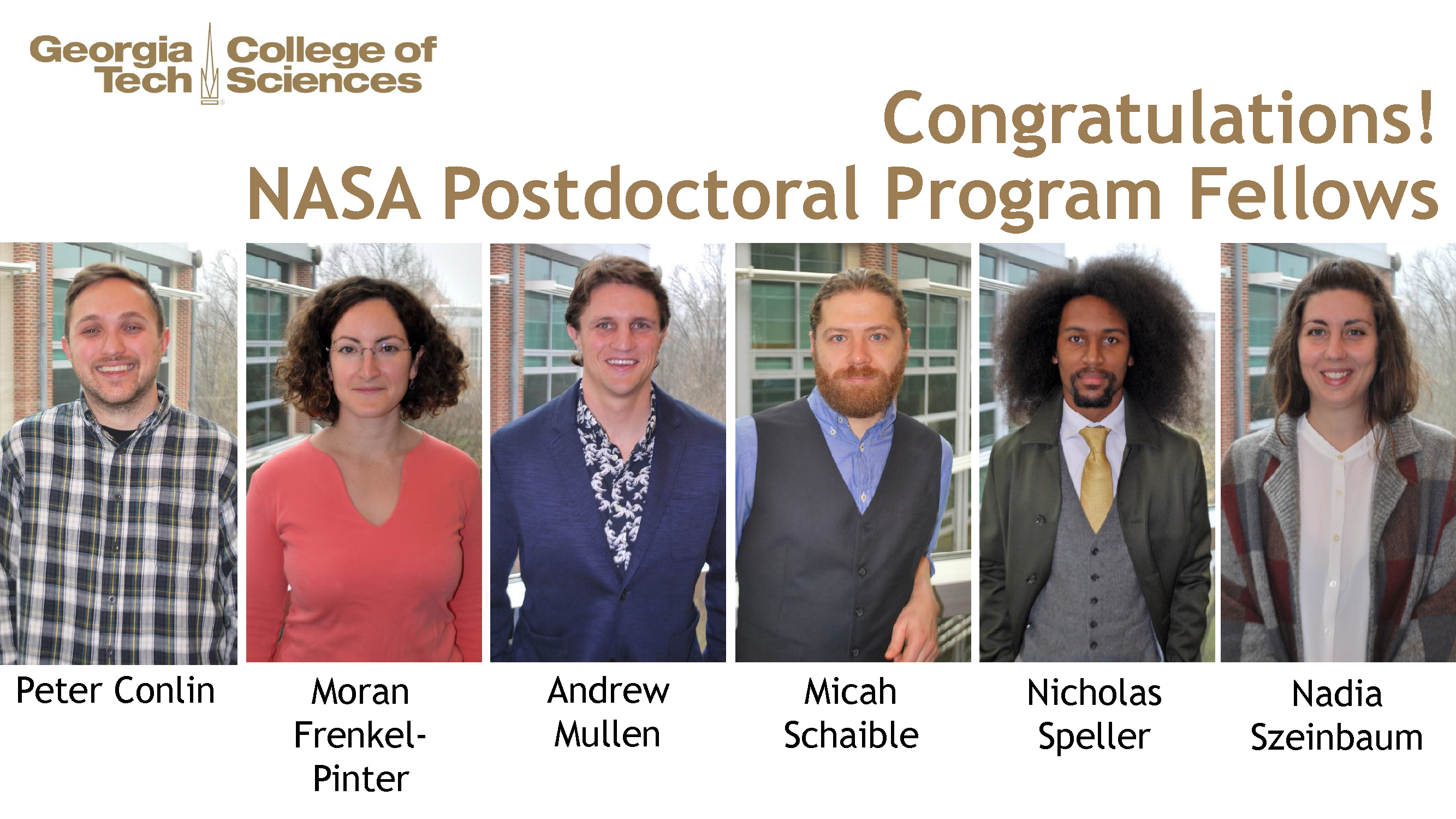 NASA postdoc fellows in the College of Sciences