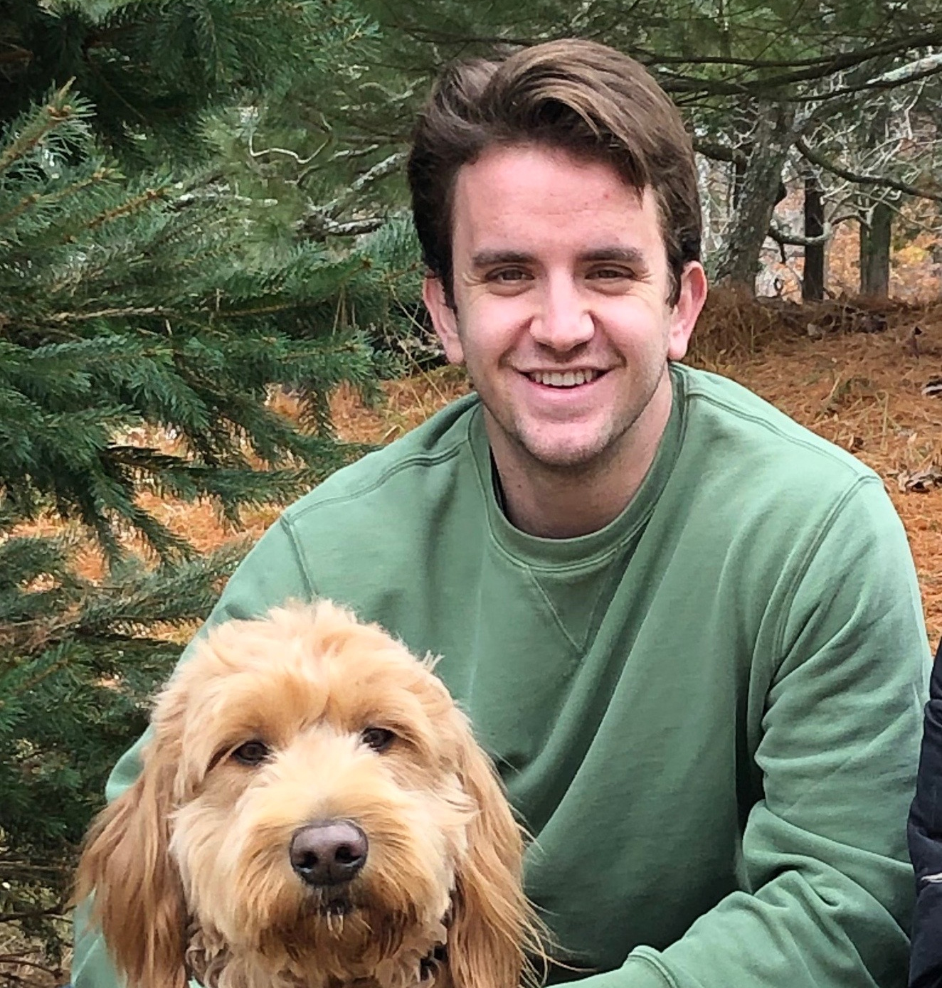Peter Addison, fourth-year undergraduate and May 2020 candidate for graduation from the School of Physics, and Lucy, the family goldendoodle.
