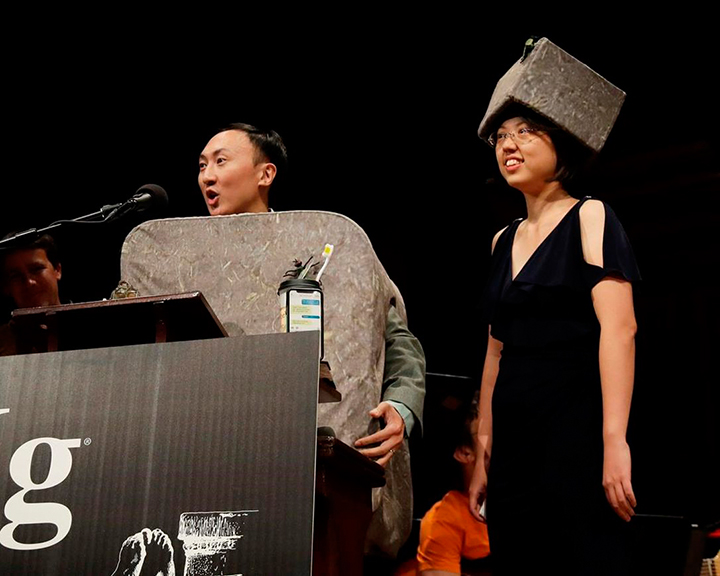 David Hu and former lab team member Patricia Wang at the 2019 Ig Nobels (Credit: AP Photo)