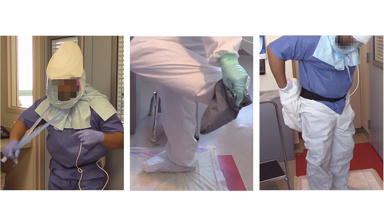 Some steps in removing protective equipment (Courtesy of Joel Mumma)