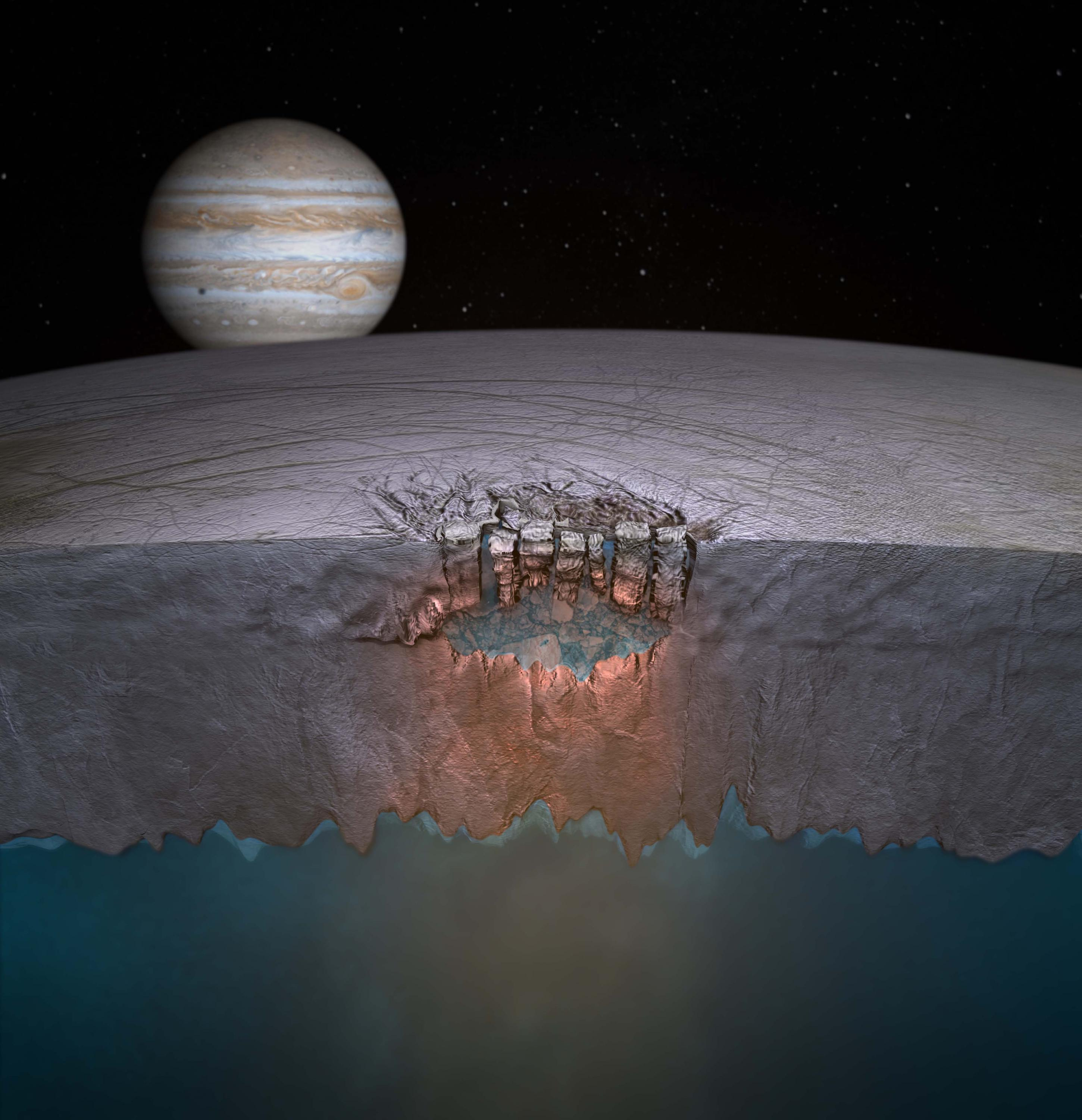 Europa cross-section ice crust