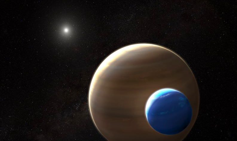 An artist's rendition of Kepler 1625b-i and its exomoon candidate in the foreground