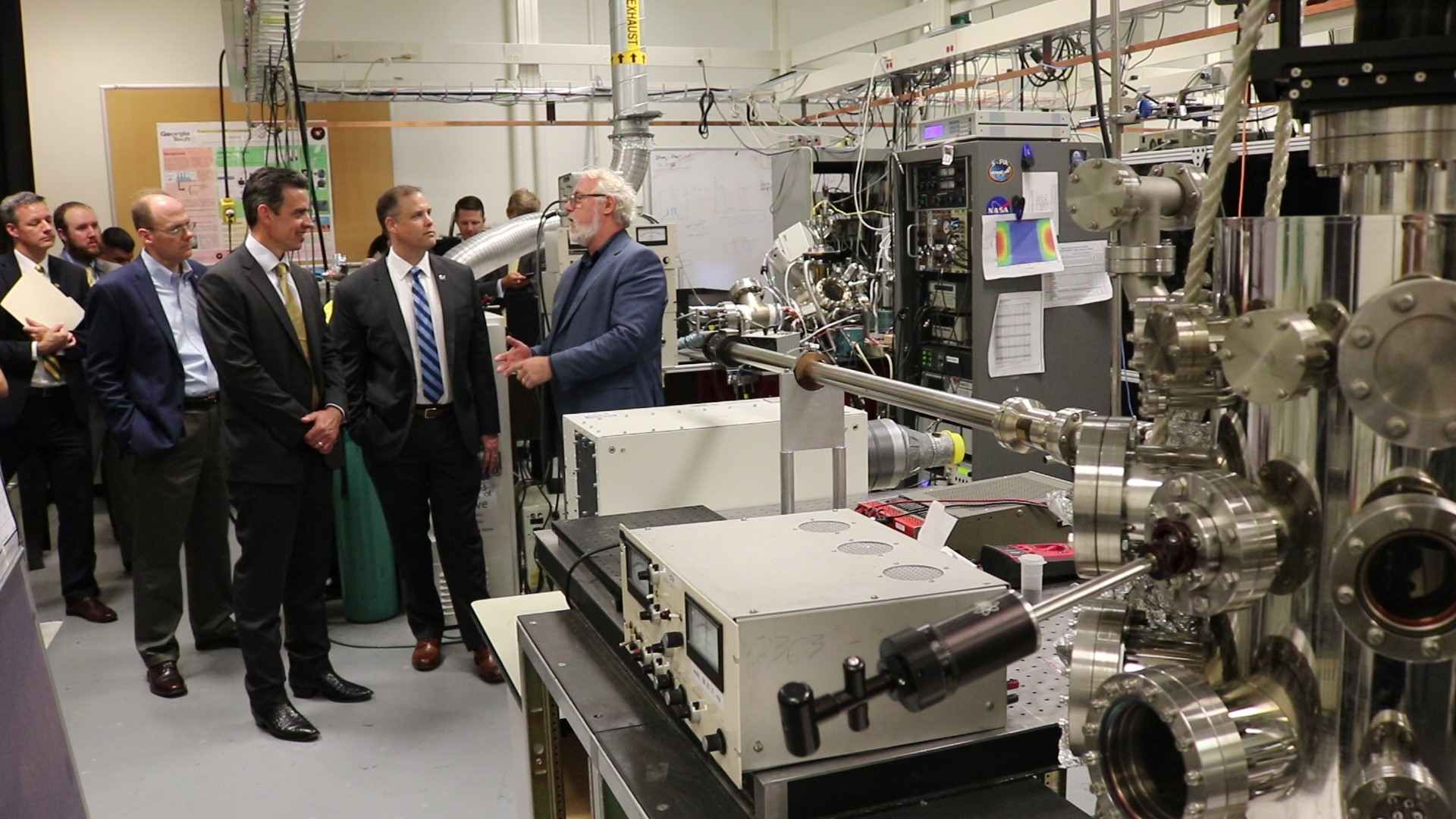 A NASA delegation led by Administrator Jim Bridenstine visited Thom Orlando' REVEALS research lab July 31, 2019. (Photo by Renay San Miguel)