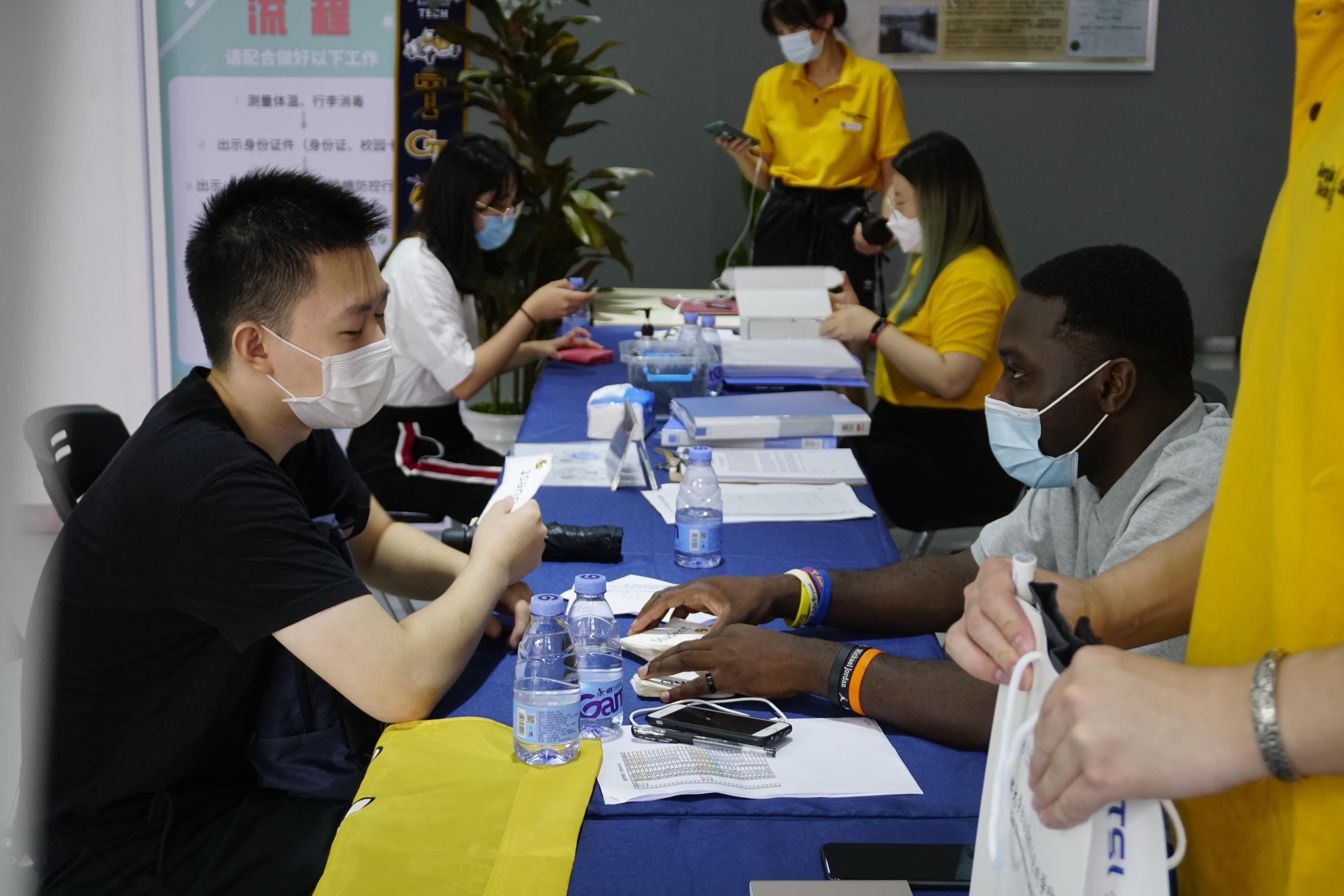 The registration tables for first-year students at Georgia Tech-Shenzhen