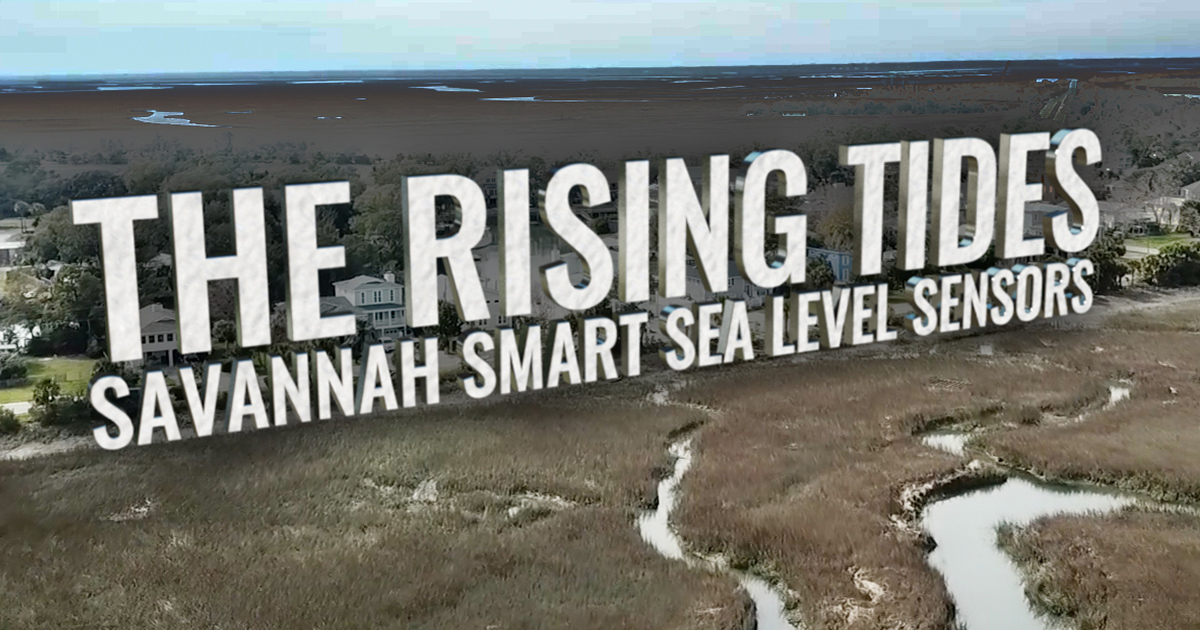 Graphic title, The Rising Tides - Savannah Smart Sea Level Sensors