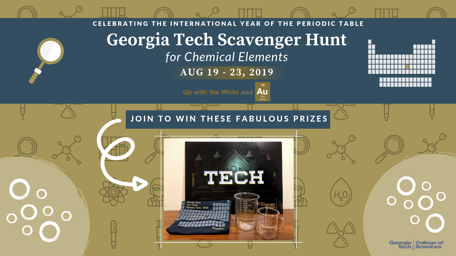 Georgia Tech posters, beaker mugs, and T-shirts await successful scavenger hunters