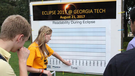 Georgia Tech students documenting legibility during the eclipse
