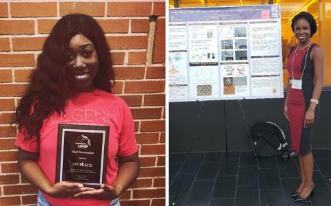 Award-winning undergraduate researchers Kelsey Walker (left) and Peace Olaniran