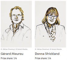 Inventors of chirped pulse amplification (Courtesy of Nobel Media)