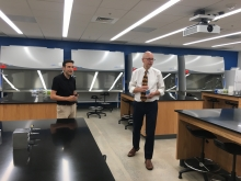 Juan Archila (left) and David Collard in a new biology lab in Boggs (Photo by Maureen Rouhi)