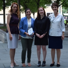 All smiles for first prize. From left: Kim Cobb, Brook Rothschild-Mancinelli, Rebecca Guth-Metzler, and Beril Toktay. Team member Priyam Raut is not pictured.