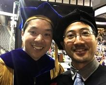 Jiyoun Jeong (left) and Harold Kim at May 2019 graduation