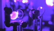 Lasers are used to probe the vibrational dynamics of 2D hybrid perovskites (Credit: Georgia Tech/ Rob Felt)