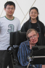 School of Mathematics Professor Molei Tao, School of Physics Asst. Professor Gongjie Li, and Stephen Hawking at the California Institute of Technology in April 2007 (Courtesy of Gongjie Li)