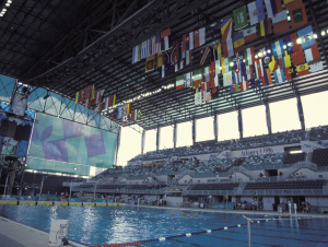Spectators watched swimming and diving events during the 1996 Summer Olympics in Atlanta in what is now the Campus Recreation Center. (Photo Georgia Tech)