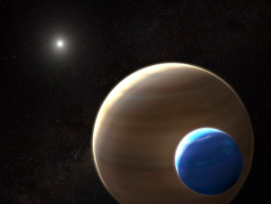An artist's rendition of Kepler 1625b-i and its exomoon candidate in the foreground (Image Wikimedia Commons)