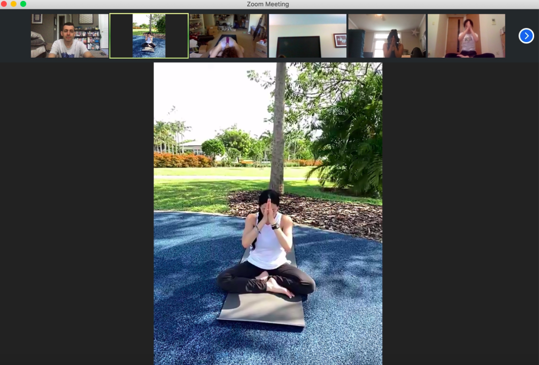 Students virtually attend a yoga session during the recent Georgia Tech Topology Student Workshop.